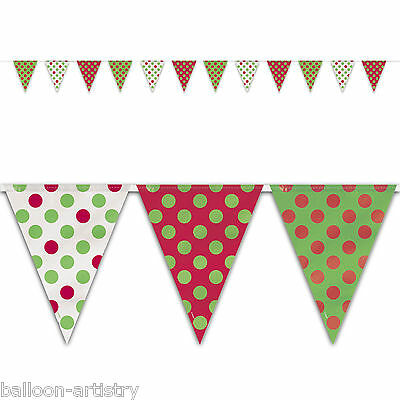 12ft Christmas Festive Red Green Polka Dots Pennant Flag Banner Decoration