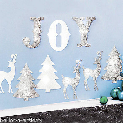 9 Christmas Joy Winter Silver White Reindeer Trees Glitter Cutout Decorations