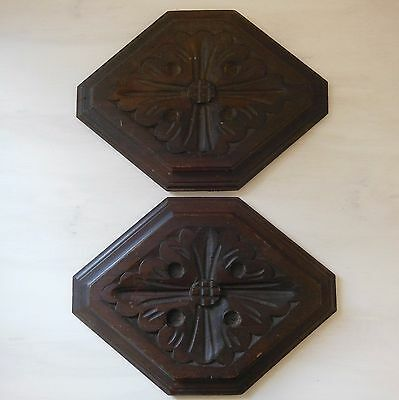 ANTIQUE FRENCH CARVED WOOD PANEL x 2