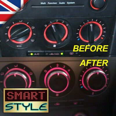 SmartStyle Aluminium BLACK AC/Heater Control Knobs Buttons for Mazda 3 MK1 03-09