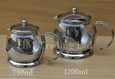 750ml/1200ml Pyrex Glass Teapot Removeable Infuser Stainless Steel Mirror Finish