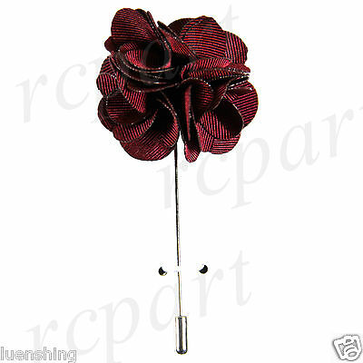New in box Brand Q formal Men's Suit chest brooch solid burgundy lapel pin
