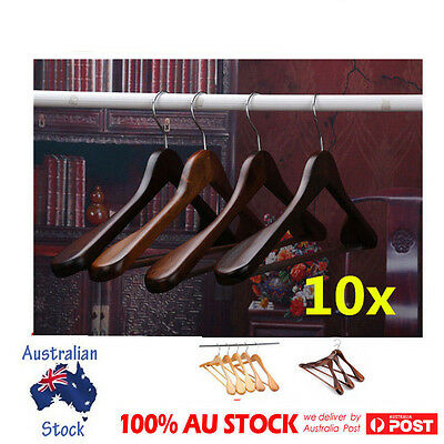 10 X Wooden Clothes Hangers Coat Suit Timber Non Slip Trouser Tube Display Rack