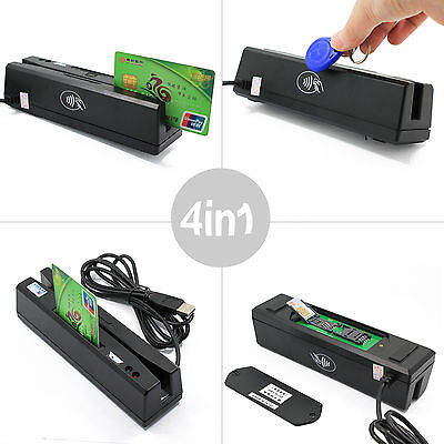ZCS160 4-in-1 Magnetic Card Reader + EMV/IC Chip/RFID/PSAM Reader