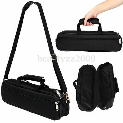 Black Nylon Padded Flute Case Carry Bag Handbag Cover w/Pocket Shoulder Strap