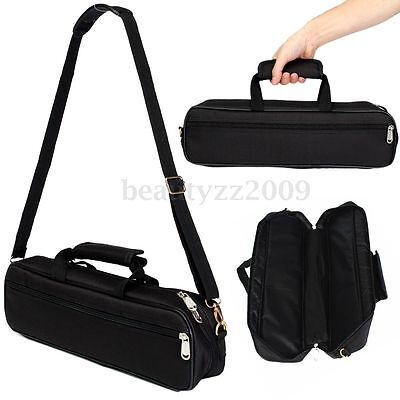 Nylon Padded Flute Case Carry Holder  Bag Handbag Cover Pocket Shoulder Strap