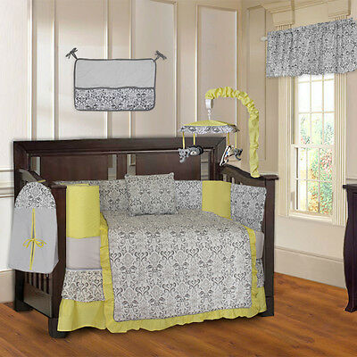 Yellow Damask 10 Piece Baby Crib Bedding Set (Including Musical Mobile)