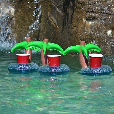 NEW GoPong Floating Palm Island Drink Holder (Pack of 3)Great For Pools Colorful