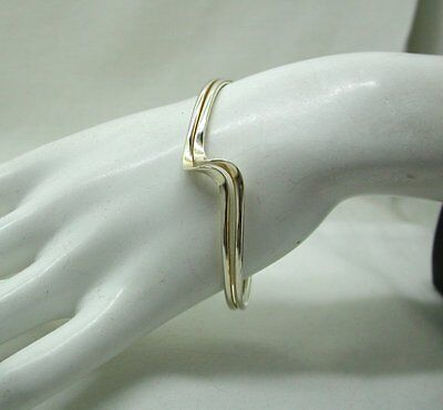 Vintage Stylish Very Nice Solid Silver  Torque Bangle With A Shaped Front