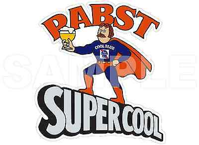 PABST BLUE RIBBON Supercool Superhero Cool Blue Beer Vinyl Sticker Decal