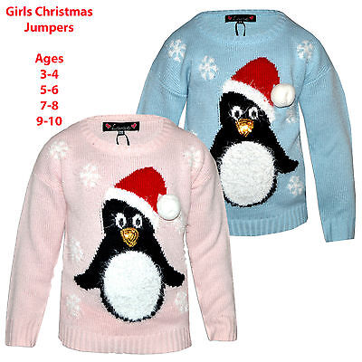 Girls Kids Novelty Christmas Xmas 3D Penguin Crew Neck Knit Sweater Top Jumper