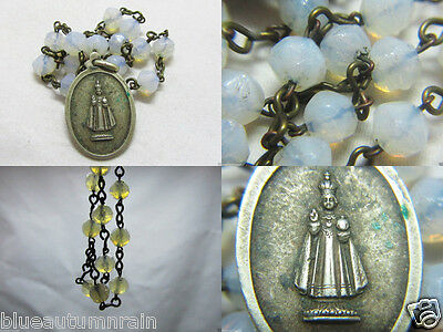 "† Unique Vintage ""infant Of Prague"" Hard To Find Opaline Glass Chaplet Rosary †"