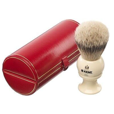 Kent BK8 Shaving Brush Pure Badger Silver Tip Ivory Handle LARGE LUXURY Bristle
