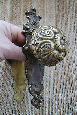 Antique solid  brass door knobs with decorative cover, 2 set available