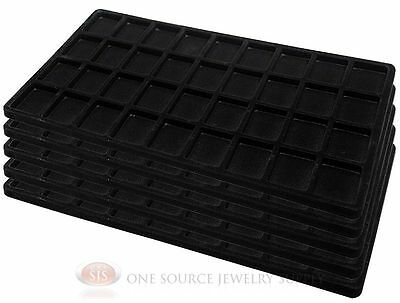 5 Black Insert Tray Liners W/ 36 Compartments Drawer Organizer Jewelry Displays