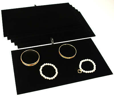 """6 Black Velvet Padded Jewelry Counter-Top Display Pads 14 1/8"""" x 7 5/8"""""""