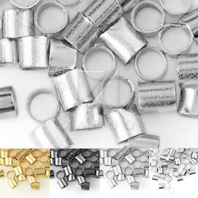 20g Approx 1500/900pcs 1.5/2mm Tube Spacer Crimps End Beads Findings Wholesale