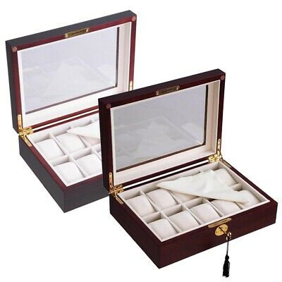 10 Slot Ebony/Cherry Wood Watch Display Case Glass Top Jewelry Storage Box Gifts