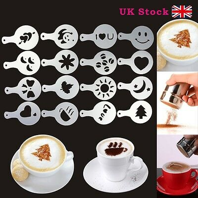 Stainless Steel Chocolate Shaker Duster + 16X Cappuccino Coffee Barista Stencils