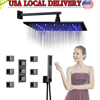 "Oil Rubbed Bronze Thermostatic LED 8""Rainfall Shower Faucet Set Massage Jets Mix"
