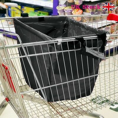 50kg Black Large Capacity Supermarket Trolley Shopping Bag Fit on Grocery Cart