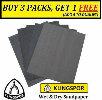 WET AND DRY SANDPAPER 60 - 2500 GRIT KLINGSPOR Germany MIXED YOU CHOOSE