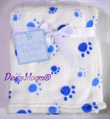 Soft And Cuddly Baby Blanket Crib Fleece Boys Foot Prints New