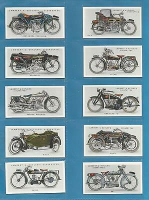 Lambert & Butler cigarette cards - MOTOR CYCLES - Full mint condition set.