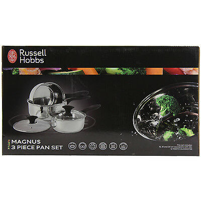 Russell Hobbs Magnus Stainless Steel 3 Piece Pan Saucepans Set With Glass Lids