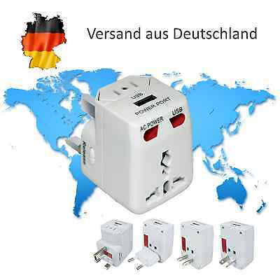 Universal World U.S. / EU / UK / AU Reisestecker Travel Adapter mit USB Ausgang