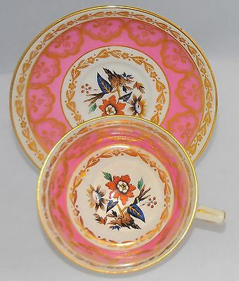 Rare Royal Stafford  Pink Gold & Floral Tea Cup And Saucer