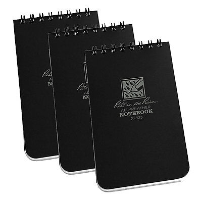 Rite in the Rain 735 3-inch x 5-inch Black All-Weather Memo Notebooks, 3-Pack