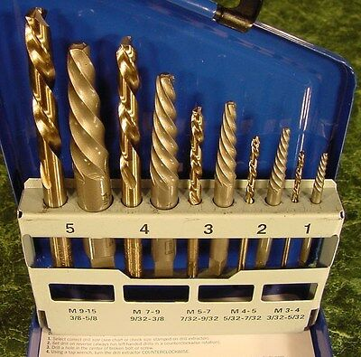 10pc IRWIN SCREW EXTRACTOR with LEFT HAND DRILL BITS Made in USA ez outs bit NEW