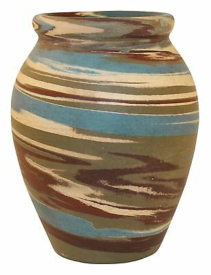 Niloak Pottery Mission Swirl Blue And Green Cabinet Vase