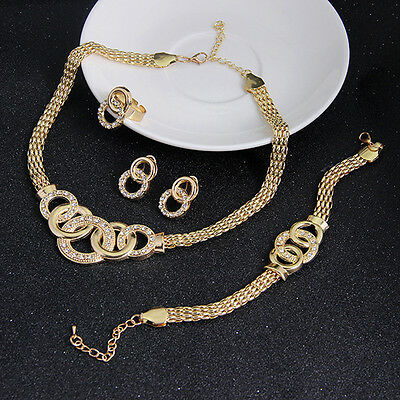 Crystal Alloy 18K Gold Plated Bridal Necklace Earring Bracelet Ring Jewelry Sets