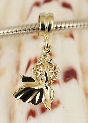 SOLID 9K 9CT GOLD GOLDFISH Fish Dangle BEAD / Pendant Fit Charm Bracelet /Chain