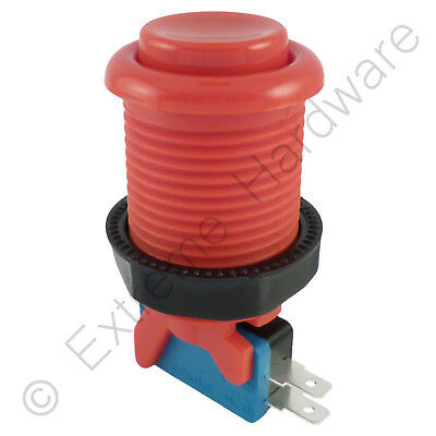 28mm Round Concave Happ Style Arcade Button & Microswitch (Red) - MAME, JAMMA