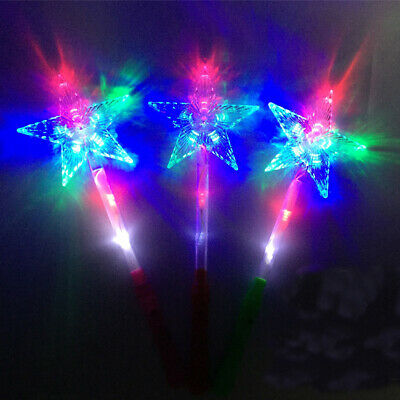 12 PCS Light Up Snowflake Wands Princess Frozen Snow LED Fairy Magic Scepter
