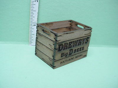 Dollhouse Miniature Tall Assembled Beer Crate Inscribed Indiana Walnut Wood 1/12