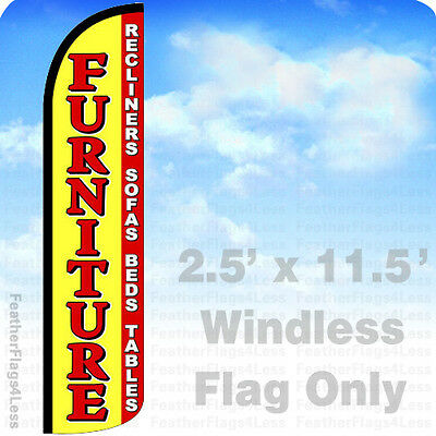 FURNITURE RECLINERS SOFA BEDS WINDLESS Swooper Feather Flag Sign 2.5x11.5' - yz