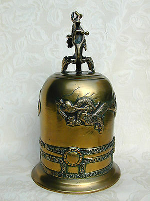 Antique Chinese Brass Dragon Bell Qing Dynasty