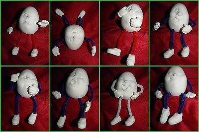 Ceramic Bisque Ready to Paint Assorted Egg Noggins Character Eggs Choice of 8