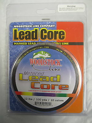 Woodstock Line Metered Lead Core Fishing Line 12# Test 100 Yards 10 Colors
