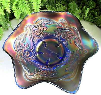 Gorgeous Old Fenton Electric Blue Carnival Glass Heart And Vine Bowl