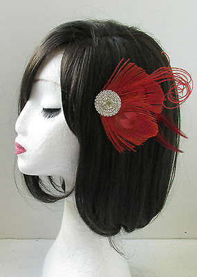 Red & Silver Peacock Feather Fascinator Headpiece Hair Clip Vintage Diamante U16