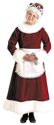 Mrs. Santa Dress Gown Costume Velvet Christmas Holiday Apron Red Burgundy