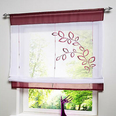 Window Kitchen Bathroom Roll Up Curtain Lifting Rome Embroidered Leaves Screens