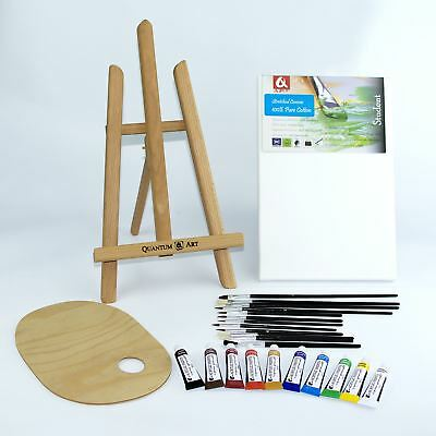 25 pcs Set Wooden Easel Acrylic Oil Watercolour Paints Brushes Wooden Palette
