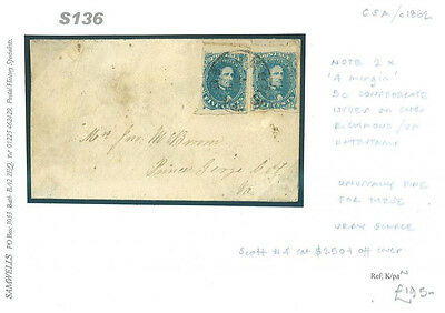 DBS136 1862 USA CSA Confederecy Virginia Richmond/Prince George