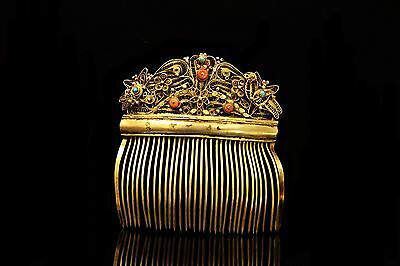 Antique Original Perfect Silver Ottoman For Lady Coral Decorated Hair Buckle